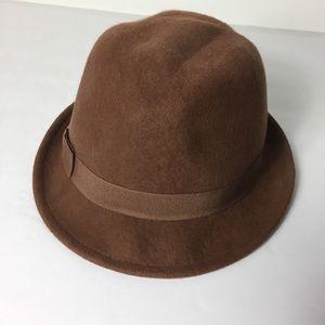 Vintage Women Brown Wool Derby Hat